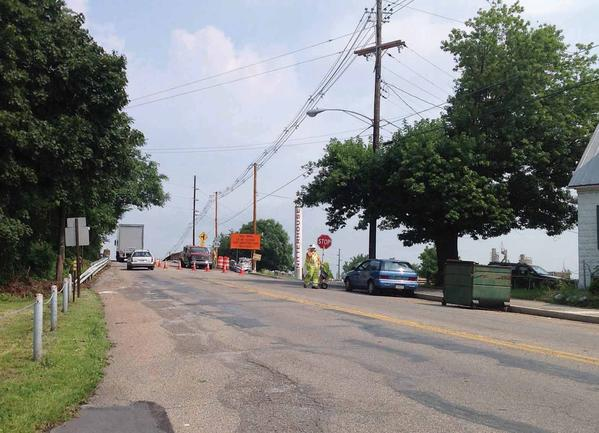 Work was under way Wednesday on the Wayne Avenue bridge in Chambersurg, Pa. The bridge will be replaced as part of a $1.8 million project scheduled to begin in earnest Aug. 13, 2012. Motorists will be detoured around the project near Nitterhouse Concrete.
