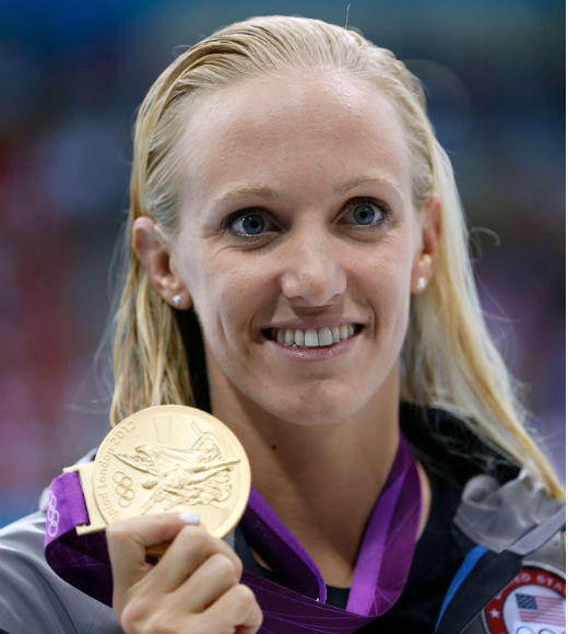 Dana Vollmer has won three gold medals in the 2012 London Olympics in the Women's 100 Butterfly on July 29, Women's 4x200m Freestyle on August 1, and Women's 4 x 100m medley on August 4. She competed and won a gold medal in the 2004 Athens Olympics but did not qualify for the 2008 Beijing Olympics.