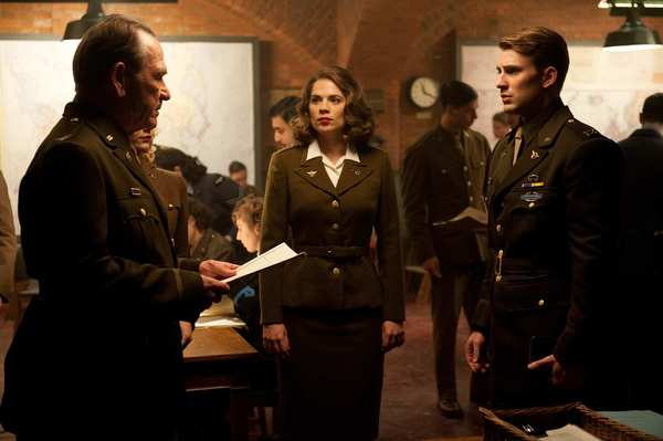 "Tommy Lee Jones, left, Hayley Atwell and Chris Evans in 2011's ""Captain America: The First Avenger."""