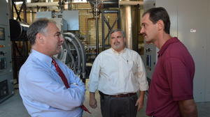 Kaine tours sewage treatment plant, talks energy innovation