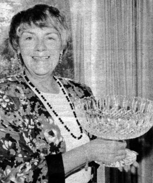 La Canada resident Barbara Corson holds the Waterford crystal bowl she won in the summer of 1992 when she was the grand champion of a ladies poker tournament held at Bally's Casino in Reno.