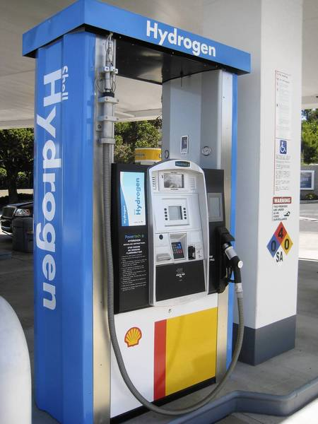 The hydrogen pump at a new Shell station in Newport Beach looks like a regular gas pump.