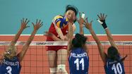 LONDON — Listed at 6-foot-3-inches and 198 pounds, wing spiker Yimei Wang intimidates as the great wall of China's women's volleyball team.