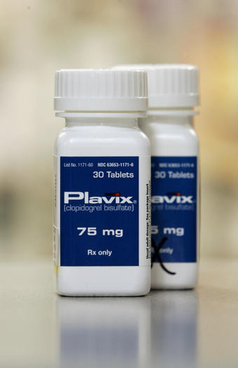 The blood thinner Plavix which is used to prevent heart attacks and strokes is pictured in a pharmacy.
