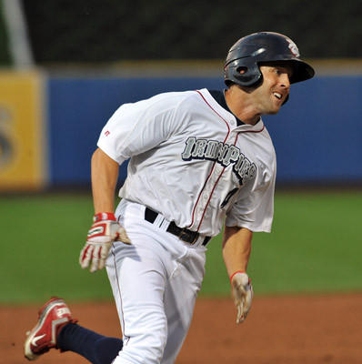 ehigh Valley IronPigs' Steve Susdorf (4) runs home against the Pawtucket Red Sox during a baseball game held at Coca Cola Park in Allentown on Wednesday.