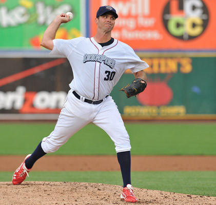 Lehigh Valley IronPigs' Scott Elarton (30) pitches against the Pawtucket Red Sox during a baseball game held at Coca Cola Park in Allentown on Wednesday.