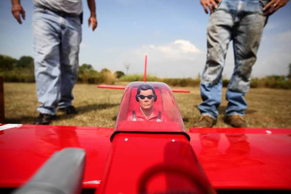 A remote control plane is positioned for takeoff last month at an airfield at Waterfall Glen Forest Preserve in Darien. The Woodland Aero Modelers meet three times a week at the public space to fly model aircraft.
