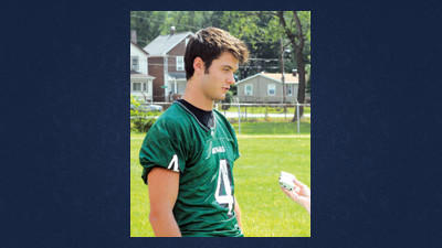 North Star's Tony Strasiser speaks with a reporter during WestPAC football media day on Wednesday in Portage.
