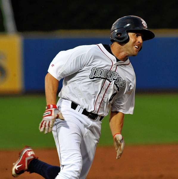 Lehigh Valley IronPigs' Steve Susdorf (4) heads for home against the Pawtucket Red Sox during a baseball game held at Coca Cola Park in Allentown on Wednesday.