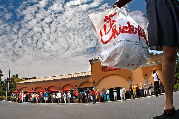 Hundreds of customers line up to get in the Chick-fil-A restaurant in Laguna Niguel.