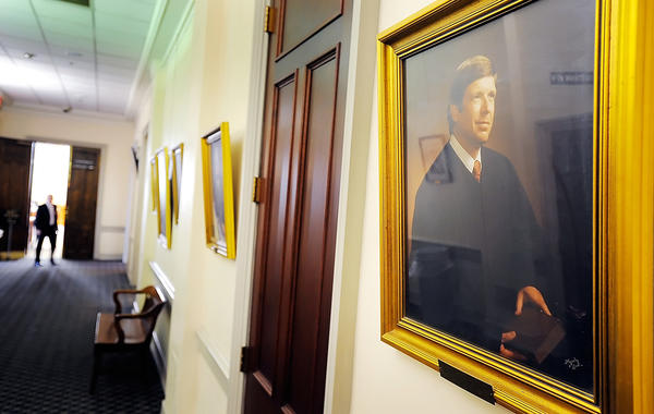 A portrait of former Washington County Circuit Judge John P. Corderman hangs on the wall at Washington County Circuit Court. Corderman, a former jurist and Maryland state senator, died July 31 in Baltimore. He was 70.