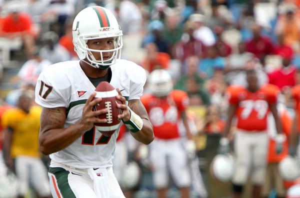 Quarterback Stephen Morris gets ready to throw the ball at the University of Miami Spring game at Lockhart Stadium last season.