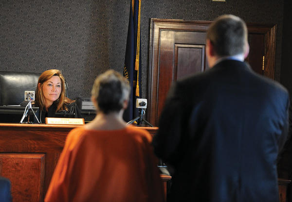Lillie Stanton waives her right to a hearing before Clark District Judge Brandy Oliver Brown during a Wednesday court hearing. Stanton is a suspect in the May deaths of her daughter Danel Korrey Stanton and her 22-month-old granddaughter Kaydence Ray Miers. Stanton waits to be seated in the jury box when she, and other defendants, were brought in the courtroom.