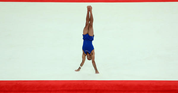 Danell Leyva of the United States looks like six o'clock as he competes in the floor exercise during the artistic gymnastics men's individual all-around final.