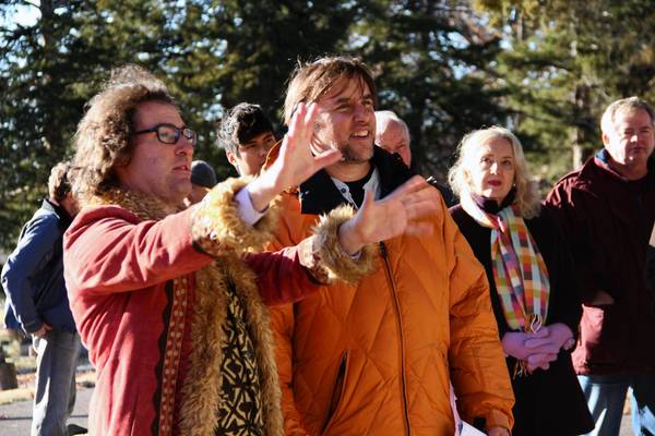 """Host Timothy """"Speed"""" Levitch, left, and director Richard Linklater for the Hulu original series """"Up to Speed."""""""