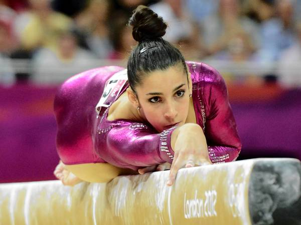 Alexandra Raisman (USA) competes on the balance beam in the women's individual all-around final during the 2012 London Olympic Games at North Greenwich Arena.