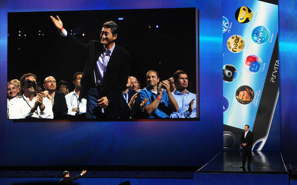 Sony Chief Executive Kazuo Hirai on the big screen at the E3 game convention in Los Angeles.