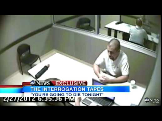 This video frame shows suspect George Zimmerman as he is questioned by investigators in the shooting of Trayvon Martin. The interrogation took place on Feb. 27, the day after the shooting. Zimmerman was then released, with police later claiming they had insufficient evidence to make an arrest.