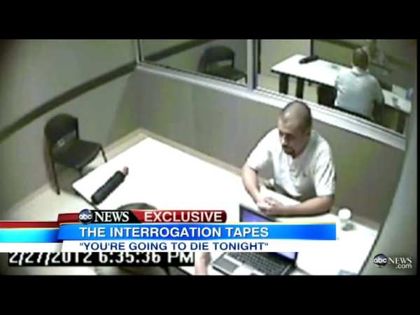 This video frame shows suspect George Zimmerman as he is questioned by investigators in the shooting of Trayvon Martin. The interrogation took place on Feb. 27, the day after the shooting. Zimmerman was then released, with police later claiming they had insufficient evidence</a> to make an arrest.