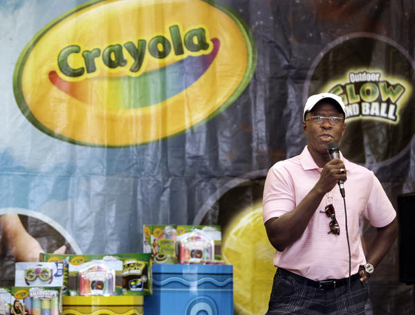 Actor Courtney Vance spoke to children before they colored tiles that made up a Cartoon Network's 20th Anniversary mural at the Burbank Boys and Girls Club on Thursday, August 2, 2012. Crayola donated art supplies for the children to create the mural.