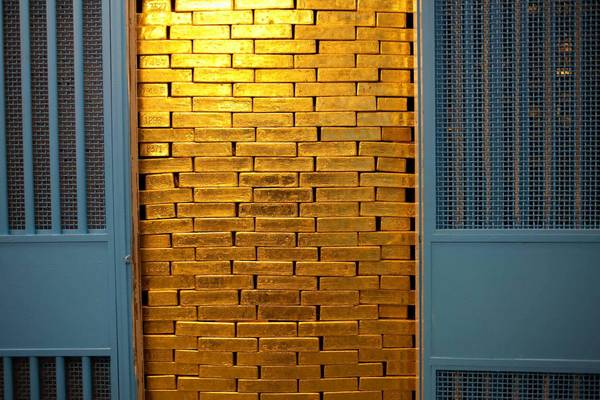 A stack of gold bars stored at the Federal Reserve Bank of New York. The Treasury Department recently completed an audit of its gold there.