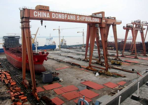Tankers sit unfinished at Dongfang Shipbuilding Group's facility in Yueqing, China. The company is among the many shipbuilders that have fallen on hard times amid China's economic slowdown.