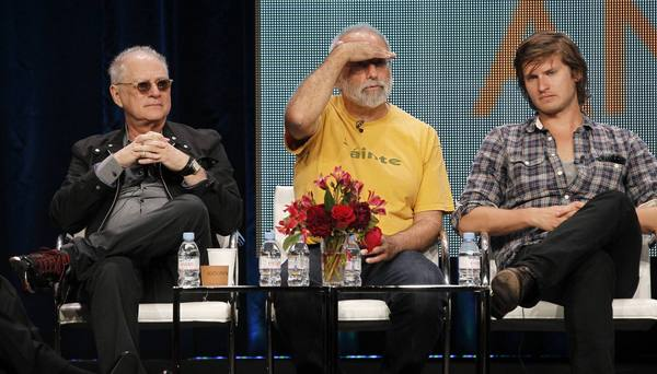 "Barry Levinson, left, and Tom Fontana, center, executive producers of ""Homicide: Life on the Street,"" return to prime time this month on BBC American with ""Copper,"" starring Tom Weston-Jones, right."