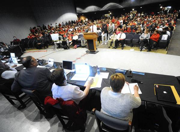 Easton Area School Board members listen to arguments against teacher layoffs in 2010. The district ended up laying off about 70 teachers that year.