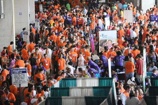 About 1,000 volunteers participated in escorting one person each through the various booths and services.