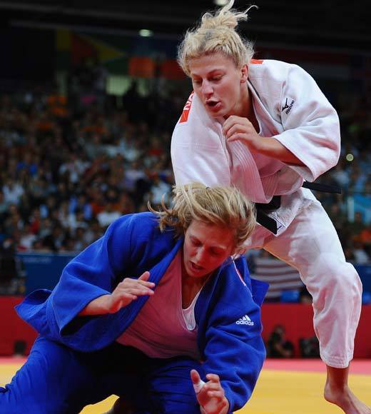 2012 Summer Olympics Best and Worst moments: Kayla Harrison defeated Brit Gemma Gibbons in the 78kg judo final to become the first American, man or woman, to win gold in judo at the Olympics. Her compatriot, Marti Malloy, earned bronze in her weight class earlier in the week and they become just the second and third women from the U.S. to medal in judo.  -- Andrea Reiher, Zap2it