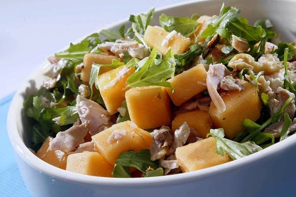 cantaloupe with smoked chicken
