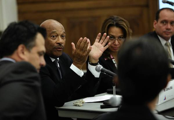 Board Chairman James Bell, speaking Thursday at the first meeting of the Chicago Infrastructure Trust, said he expected Ald. John Pope, right, to be elected vice chairman and Diana Ferguson, a former chief financial officer for Sara Lee Foodservice, to be elected secretary-treasurer.