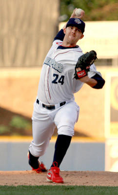 IronPigs' #24 Tyler Cloyd pitches in the baseball game against the Pawtucket Red Sox held at Coca-Cola Park on Thursday.