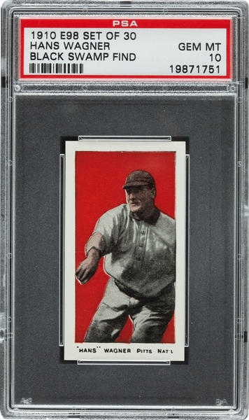 "One of the baseball cards in the ""Black Swamp Find"" that fetched $200,000 at auction."