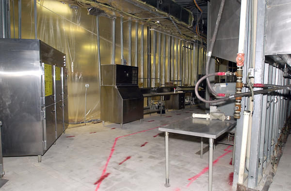 The St. Charles East High School kitchen shown in March 2002 during anti-mold work.
