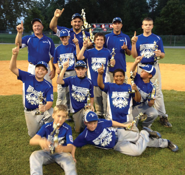 The Valley Little League 11-12 All-Stars won the Thomas Evans tournament at National Little League on Monday night. From left to right: Front row -- Matt Dunn and Mark Moholt. Second row -- Austin Moser, Chase Metz, Chris Martin and Brett Baile. Third row -- Andrew Mathias, Dylan Eyler and Gavin Shubert. Back row -- coach Rusty Moser, manager Danny Barnes and coach Mike Mathias.