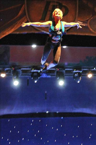 59-year-old former olympian Cathy Rigby flying through the air as Peter Pan at the Kravis Center in West Palm Beach.