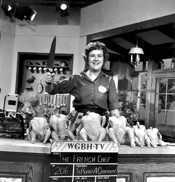 "Julia Child on the set of ""The French Chef"" in 1970."