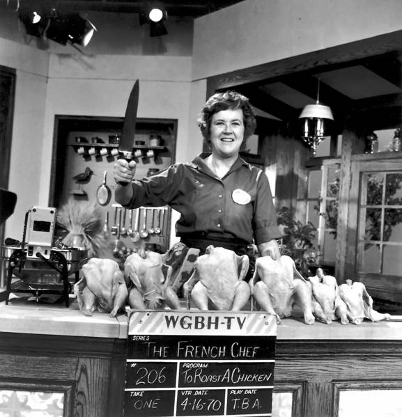 """Julia Child on the set of """"The French Chef"""" in 1970."""