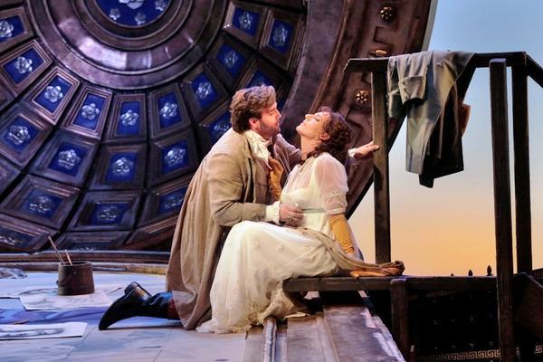 "Brian Jagde (Cavaradossi) & Amanda Echalaz (Tosca) in ""Tosca"" at Santa Fe Opera."