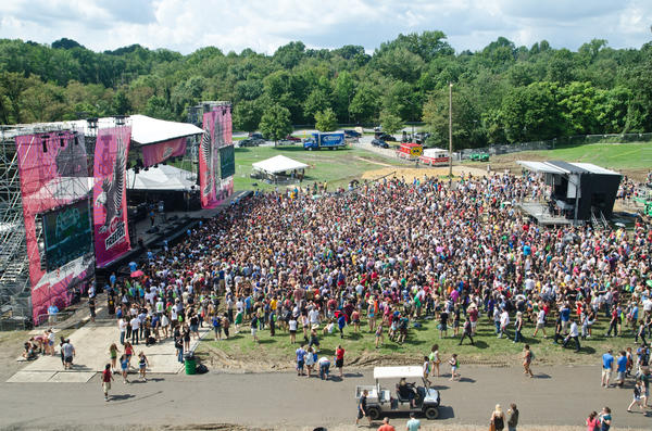 View of the west stage as Two Door Cinema Club perform at the 2011 Virgin Free Fest at Merriweather Post Pavilion.