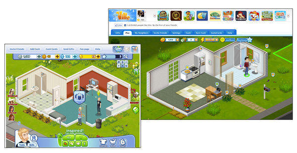 "EA says Zynga's ""The Ville"" (shown upper right) infringed on its ""Sims Social"" (lower left)."