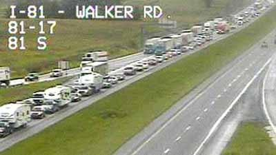 In this image from a PennDOT traffic camera, traffic was backed up on northbound Interstate 81 at about 2:45 p.m. Friday following a traffic accident. I-81 was closed at Exit 20 near Scotland, Pa., about three miles to the north.