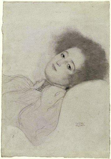 "Gustav Klimt's ""Portrait of a Reclining Young Woman,"" 1897-98, black chalk."