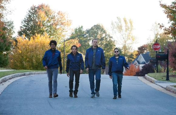 "Richard Ayoade, Ben Stiller, Vince Vaughn and Jonah Hill are on the move, keeping an eye on the hood, in ""The Watch."""