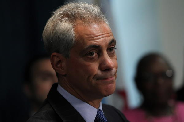 Mayor Rahm Emanuel, visiting the Nia Family Center on the West Side Friday, referred questions on Solyndra to the White House counsel.