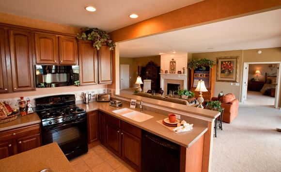 An open kitchen in the Edgewater ranch style Del Webb model is a preferred design in homes. The fact that it connects seamlessly to the great room is a plus.