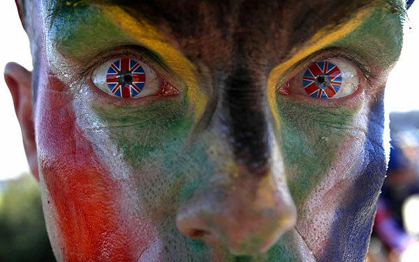 A fan at the London Games wears contact lenses with the Union Jack flag during a match featuring the South African field hockey team.