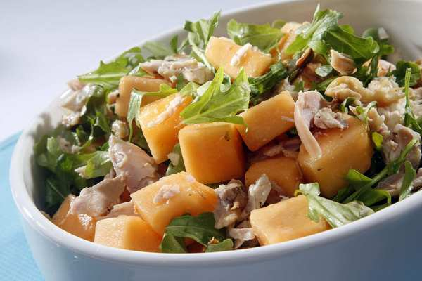 Smoked chicken and cantaloupe salad.