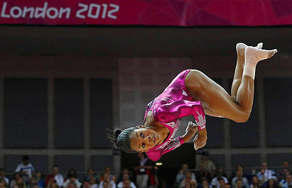"Gabrielle Douglas known as the ""flying squirrel"" puts in a solid performance during the women's individual all-around final on Aug. 2."